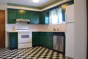 Country Kitchen with Casement, Freestanding Full Size Top Freezer Refrigerator, L-shaped, European Cabinets, dishwasher