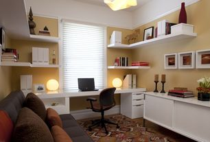 Modern Home Office with Laminate floors, Built-in bookshelf, Area rug, AnotherCup - Shadow Box 12x12, Chandelier
