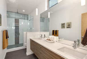 Contemporary Master Bathroom with Rain shower, Flush, Undermount sink, Pendant light, Simple granite counters, Double sink