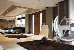 Contemporary Great Room with Laminate floors, Chandelier, interior wallpaper