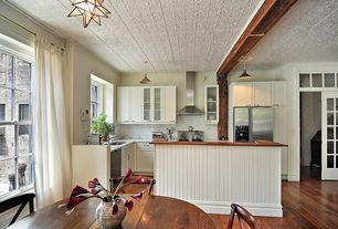 Country Kitchen with Flush, Kitchen island, Pendant light, Hardwood floors, Subway Tile, Complex marble counters, Glass panel