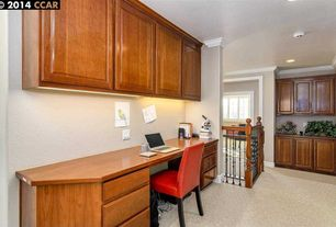 Traditional Home Office with Standard height, Built-in bookshelf, Carpet