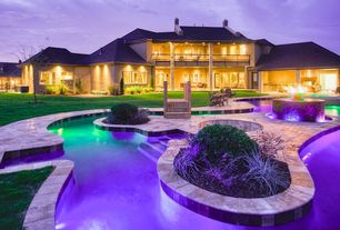 Traditional Swimming Pool with French doors, Outdoor kitchen, Pool lighting, Fire pit, Pool with hot tub, Covered balcony