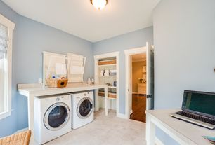 Country Laundry Room with Undermount sink, limestone tile floors, Standard height, stone tile floors, six panel door