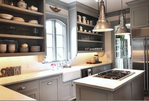 Cottage Kitchen with Farmhouse sink, Shaker cabinet, White subway tile, Subway Tile, Mis: jura beige limestone counters