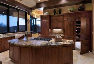 Eclectic Kitchen with limestone tile floors, Simple marble counters, Paint1, Farmhouse sink, Raised panel, Kitchen island
