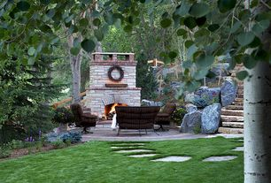 Traditional Patio with Stone stair, Meadowcraft vinings deep seating swivel rocking chair with cushion, Outdoor seating