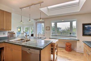 Contemporary Kitchen with Kichler Lighting - Mini-Pendant with Glass Saucer Shade, Pendant light, Slate Tile, Multiple Sinks