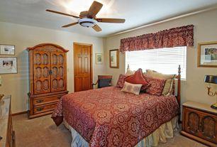 Mediterranean Guest Bedroom with Ceiling fan, picture window, Standard height, six panel door, Carpet