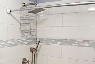 Modern Full Bathroom with Mineral Tiles Linear Glass Marble Mosaic Tile White, High ceiling, Anatolia Lobby 12x24, White
