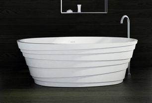 Contemporary Master Bathroom with Hoop Acrylic bathtub, Floor mount tub filler