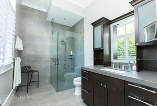 Contemporary 3/4 Bathroom with Casement, Stainless steel counters, Undermount sink, Handheld showerhead, three quarter bath