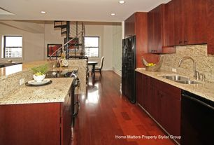 Contemporary Kitchen with Flush, Breakfast bar, full backsplash, Simple granite counters, European Cabinets, can lights