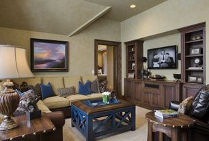 Country Living Room with Cross X Base Coffee Table, Voyager Storage End Table, High ceiling, Built-in bookshelf, Carpet