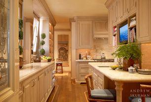 Traditional Kitchen with double dishwasher, Limestone, Limestone counters, full backsplash, Galley, Undermount sink