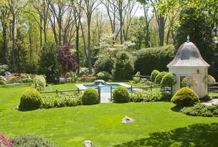 Traditional Landscape/Yard with Gazebo, Pathway, Fountain, Fence, exterior stone floors, Lap pool, Gate