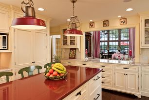 Country Kitchen with Kitchen island, Corian counters, Inset cabinets, L-shaped, full backsplash, Pendant light, can lights