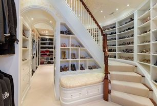Traditional Closet with Carpet, Shaw Batter Up I Butter Cream Textured Indoor Carpet, Built-in bookshelf, Crown molding