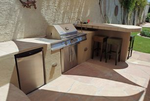 Mediterranean Patio with Outdoor stool, Outdoor kitchen, Outdoor bar, Outdoor dishwasher
