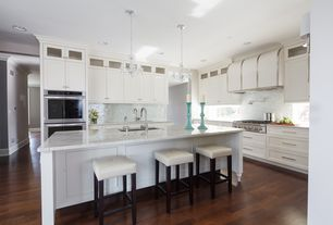 Contemporary Kitchen with Glass panel, Standard furniture smart bar stool, Kitchen island, Pend