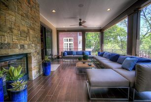 Contemporary Porch with Deck Railing, Casement, outdoor pizza oven, Wrap around porch, sliding glass door