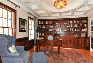 Traditional Home Office with Box ceiling, Standard height, Hardwood floors, Chair rail, French doors, Exposed beam