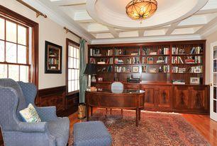Traditional Home Office with Exposed beam, flush light, Built-in bookshelf, Box ceiling, Crown molding, Hardwood floors