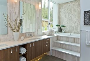 Contemporary Master Bathroom with Corian counters, European Cabinets, Standard height, Casement, Master bathroom, Bathtub