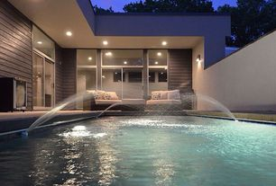 Contemporary Swimming Pool with Transom window, Lap pool, exterior tile floors