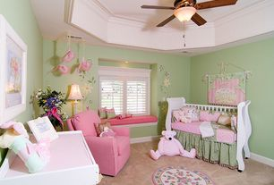 Country Kids Bedroom with Ceiling fan, Safavieh hand-hooked bumblebee ivory/ rose wool rug, Crown molding, Paint, Window seat