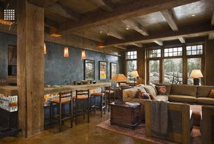 Eclectic Bar with High ceiling, Daltile sonoma brushed & chiseled edge travertine, Columns, Exposed beam, Concrete floors