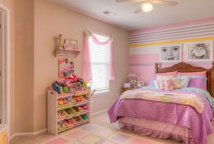 Traditional Kids Bedroom with Built-in bookshelf, Ceiling fan, Carpet, interior wallpaper