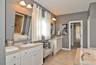 Modern Master Bathroom with Birdcage Throw Pillow, Master bathroom, Simple granite counters, Flat panel cabinets