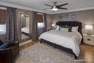 Modern Master Bedroom with Mural, Hardwood floors, Ceiling fan, Crown molding