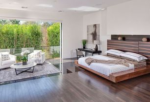 Contemporary Master Bedroom with Standard height, Laminate floors, specialty door, can lights
