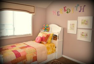 Modern Kids Bedroom with High ceiling, no bedroom feature, Carpet, Casement