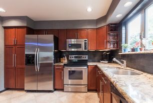 Contemporary Kitchen with Stone Tile, Complex granite counters, Flush, L-shaped, flush light, limestone tile floors