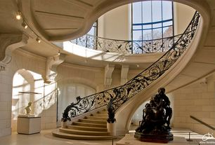 Traditional Staircase with Classical sculptures, Polished stone tile, Arched wall, Laminate floors, High ceiling, Balcony