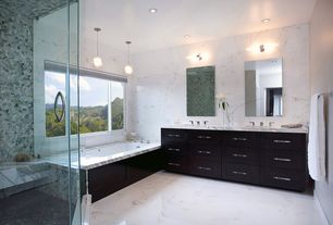 Contemporary Master Bathroom with Globe Ceiling Light By Artenica, Silestone Lyra, Flat panel cabinets, Double sink, Flush
