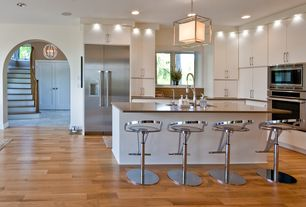 Contemporary Kitchen with European Cabinets, Flush, Engineered hardwood floors, Pendant light, Breakfast bar, Farmhouse sink