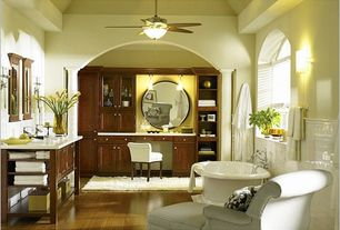Traditional Master Bathroom with Wall sconce, Ceiling fan, Undermount sink, Kohler K-700 Vintage Bath, Rachelle Wall Mirror