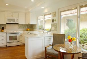 Traditional Kitchen with Casement, Crown molding, Flat panel cabinets, dishwasher, Pental Crystal White Quartz, Mosaic tile