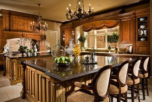 Traditional Kitchen with L-shaped, Chandelier, limestone tile floors, Standard height, Crown molding, Limestone Tile