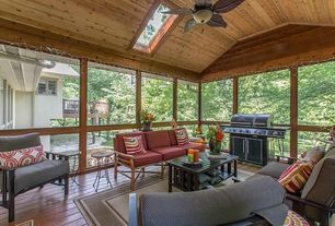 Craftsman Porch with High ceiling, Crown molding, Ceiling fan, Hardwood floors
