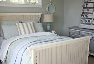 Cottage Guest Bedroom with Carpet, Built-in bookshelf