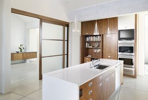 Modern Kitchen with Waterfall countertop, Kitchen island, Shoji door, Undermount sink, One-wall, Flush, European Cabinets
