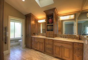 Craftsman Master Bathroom with Travertine counters, Skylight, High ceiling, Raised panel, Undermount sink, specialty door