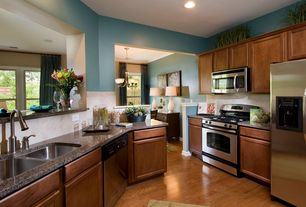 Traditional Kitchen with Granite countertop, Open concept, Simple granite counters, Flat panel cabinets, U-shaped, Stone Tile