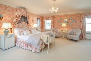 Traditional Master Bedroom with Wainscotting, Carpet, Chandelier, interior wallpaper, Standard height, Crown molding