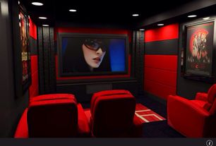 Modern Home Theater with Acoustic wall panel, interior wallpaper, Olympia - individual home theater chair with optional motor
